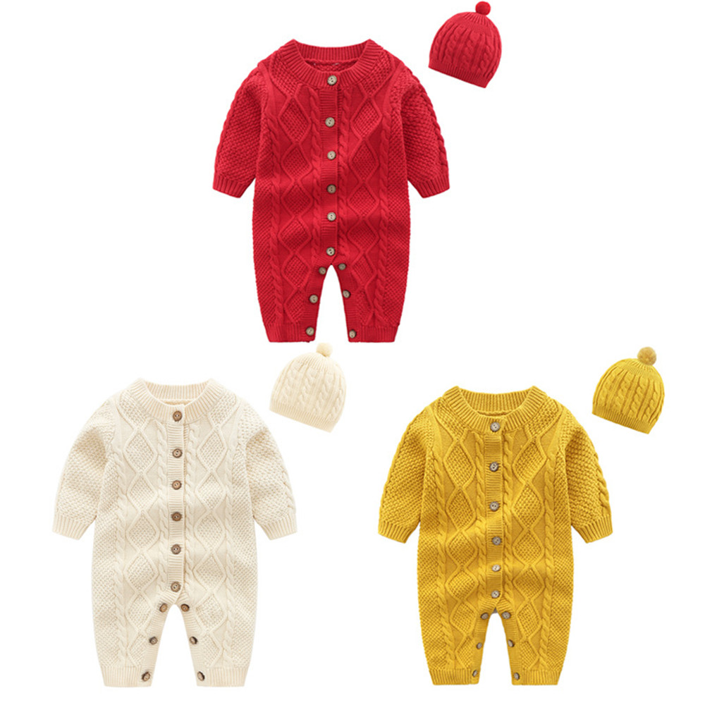 Baby Rompers Knitted Newborn Boy Jumpsuit Outfits Long Sleeve Jumpsuit + Caps Infant Girl Overalls Winter Warm Children Outwear