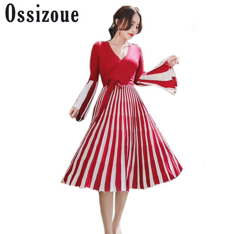 2017 Autumn Winter Knitted Dress Women High Quality Flare Sleeve V-Neck Striped Sweater Dresses Pleated Vestidos Robe Femme балетки la pinta туфли