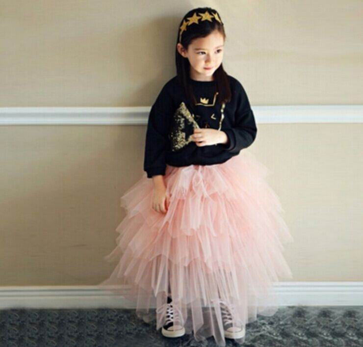 2016 Summer Autumn New Girl Skirts Gauze Tiered Fluffy Skirts Fashion Cake Skirts Children Clothes 16905