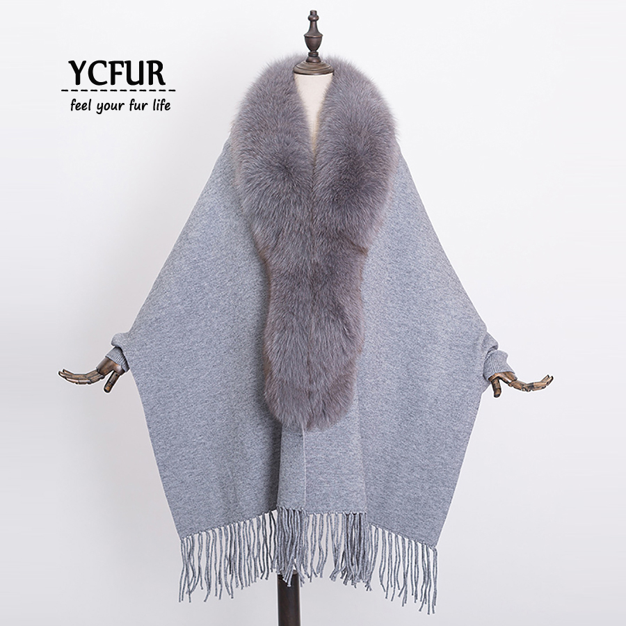 [YCFUR] Cashmere Poncho Wrap Shawl Women Winter Warm Shawls Stoles Ladies Real Fox Fur Collar Female Pashmina Scarves Wraps