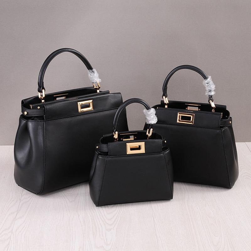 High Quality Genuine Leather Totes Messenger Bags Peekaboo Bag Handbags Fashion Shoulder Crossbody Bag Small Tote Bag цена