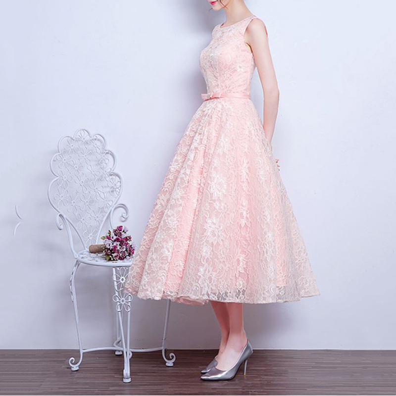 2018 Summer Pink Lace Dress Vintage Female Sleeveless Casual Women A-line Dress Solid Elegant Princess Sundress Party Dress