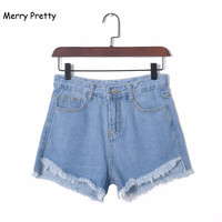 MERRY PRETTY New Fashion Women Jeans Summer High Waist Stretch Denim Shorts Sexy Button Casual Female