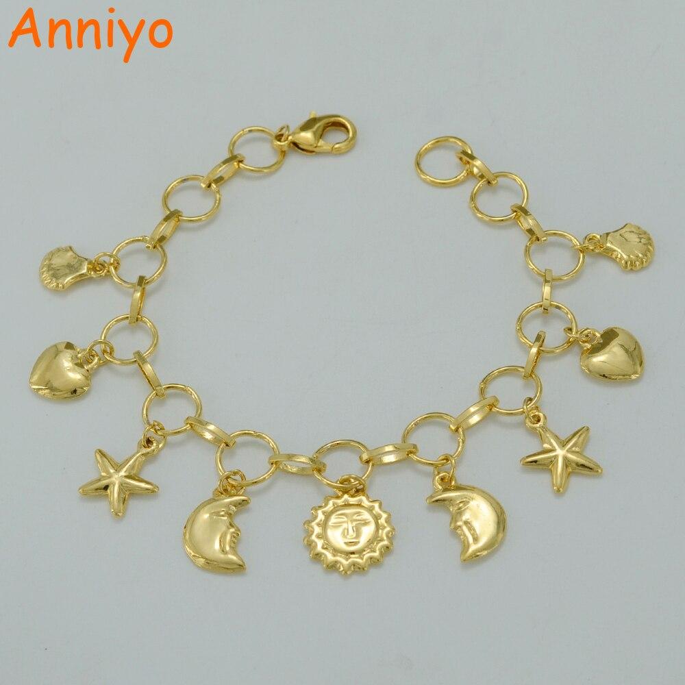 Anniyo 21 CM, Charme Bracelet pour les Femmes Or Couleur Coeur Perlé Bracelet New Trendy Soleil et Lune Main Chaîne bijoux #005502