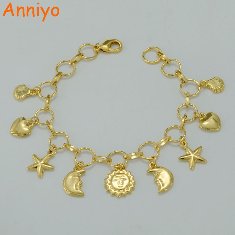 Anniyo 21CM,Charm Bracelet for Women Gold Color Heart Beaded Bangle New Trendy Sun & Moon Hand Chain Jewelry #005502 beaded detail heart charm bangle