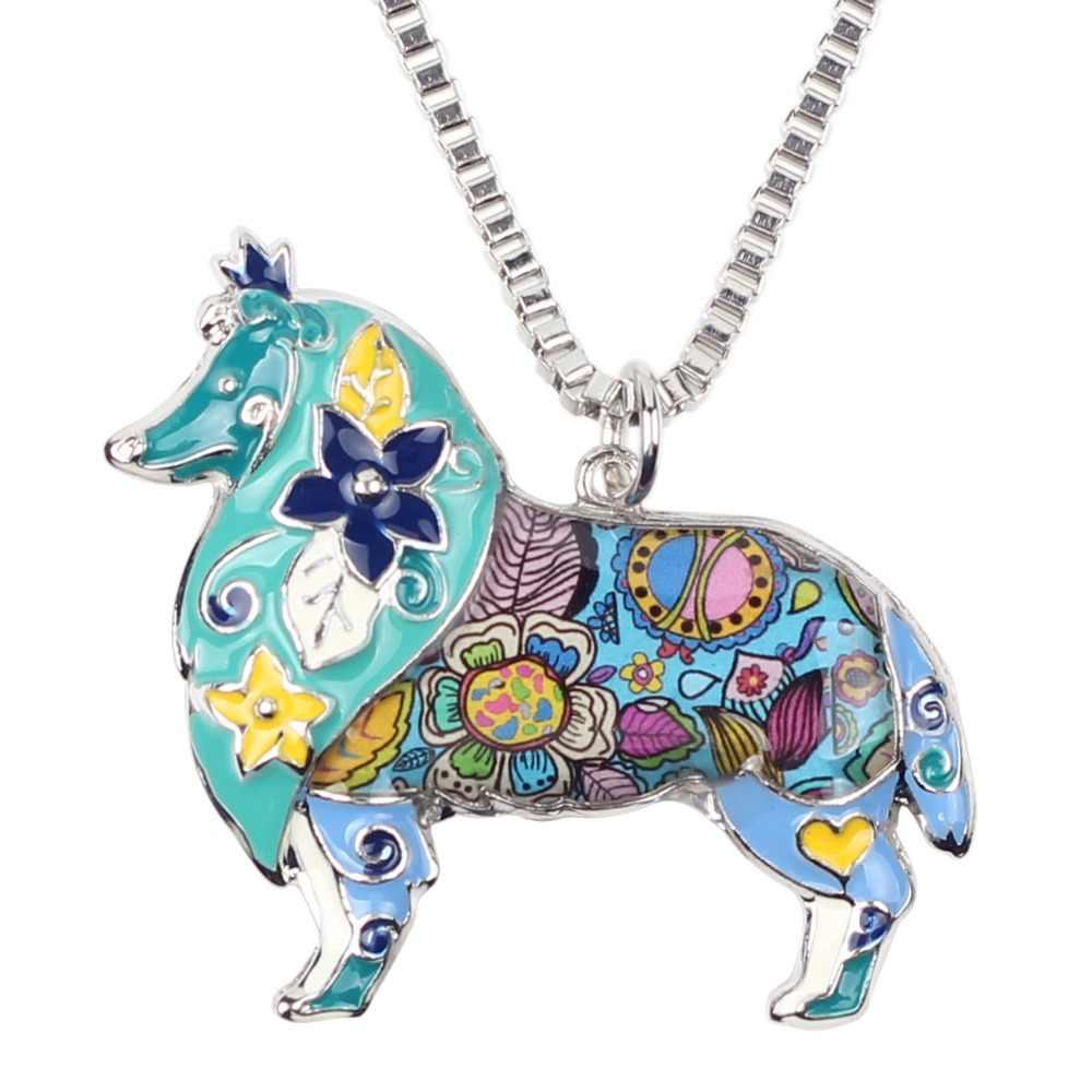 Bonsny emalia Alloy Border szorstki Collie naszyjnik z psem łańcuszek z wisiorem Collar Choker nowość biżuteria dla zwierząt dla kobiet dziewczyn prezent nowy