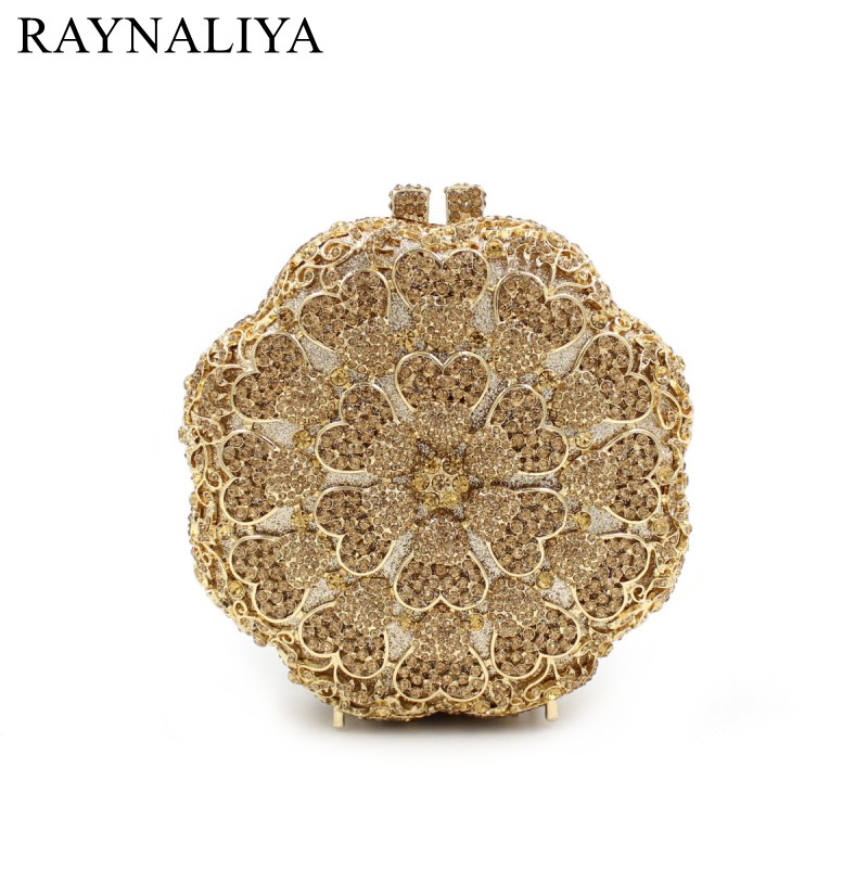 New Flower Evening Bag Fashion Floral Minaudiere Circle Shaped Crystal Handbag Party Wedding Purse Women Gold Smyzh-e0308 women minaudiere heart crystal lady fashion bridal party night metal evening purse handbag case box clutch bag smyzh f0090