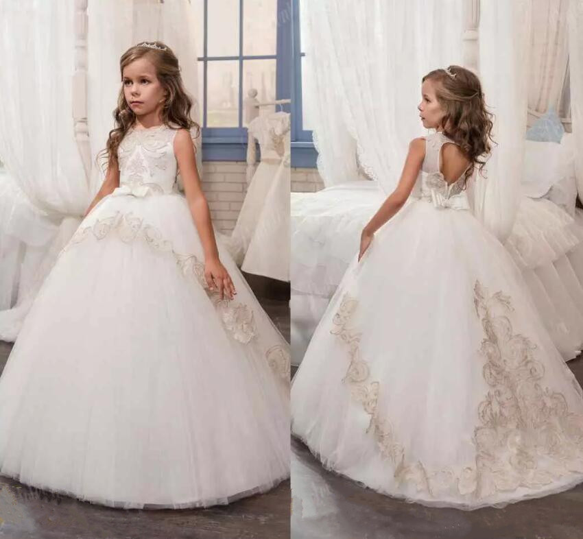 New White   Flower     Girl     Dresses   First Communion Gowns For   Girls   Ball Gown Pageant Gowns Party   Dress   Vestido De Daminha