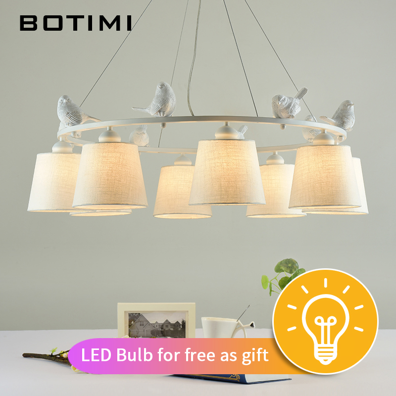 Image 2 - BOTIMI White Birds LED Chandelier with Linen Lampshades E27 Cloth Chandeliers For Living Room Romantic Kitchen Lighting Fixtures-in Chandeliers from Lights & Lighting