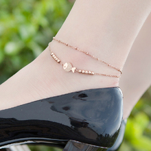 Top Quality 18KGP Rose Titanium Steel Fish 2-layer Anklet Women Fashion Brand Jewelry Free Shipping (GA061)