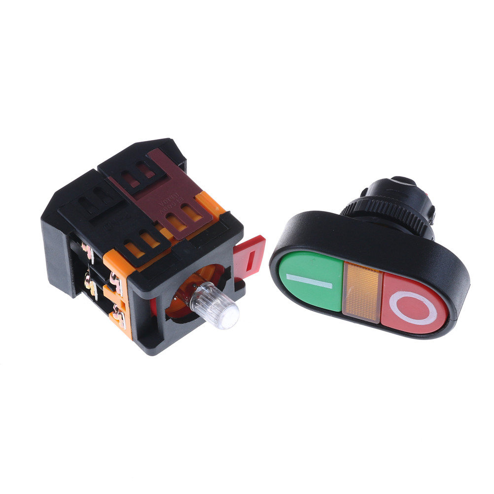 220V Start Stop Push Button Light Indicator Momentary Switch Power ON OFF
