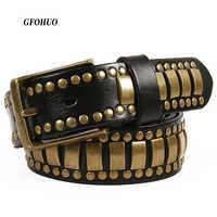Punk Rock Belts Geometry Pattern for Men for Women Rivet Studded Belts First Layer of Cowskin Hip Pop Decorative Belts