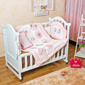 4 Pcs Girl Baby bedding set 3D Pink butterfly dragonfly Flowers Quilt Bumper Cushion Pillow Crib Bedding Set