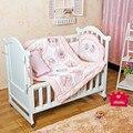 4 Pcs menina fundamento do bebê Set rosa 3D borboleta libélula flores Quilt Bumper almofada travesseiro berço da cama conjunto