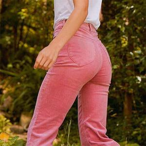 Image 2 - InstaHot High Waist Flare Boot Cut Pants Women Autumn Winter Pockets Textured Casual Sweatpants Plain Solid Clothing Female 2018