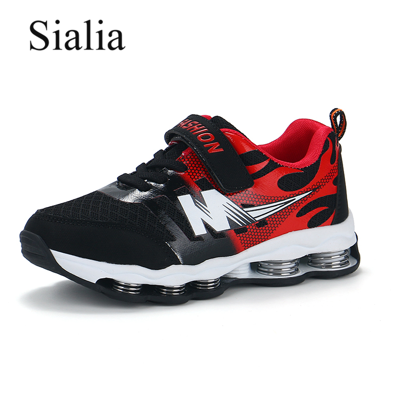 Sialia Springs Kids Shoes Boys Sneakers For Girls Casual Shoes Breathable Mesh Patchwork Hook&Loop Sport Running Children Shoes Сникеры