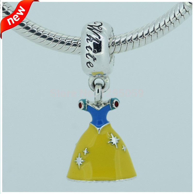 Authentic 925 Sterling Silver Snow White Dress Dangle Charm Beads For Jewelry Making Fits Bracelet European Charm Diy Women Gift