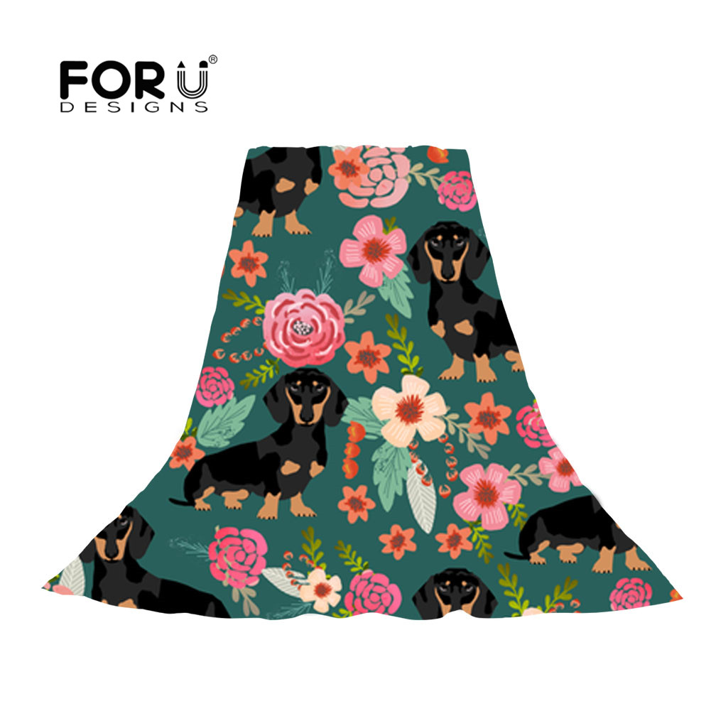 FORUDESIGNS Chiffon Women Scarf Flower Green Dachshund Dog Pattern Design Long Soft Silky Sshawl Ladies Scarves Travel Foulard