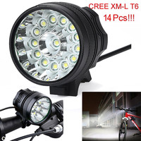 ISHOWTIENDA Usb Rechargeable Bike Light Front 34000LM 14 x CREE XM L T6 LED 6 x 18650 Bicycle Cycling Light Waterproof Lamp