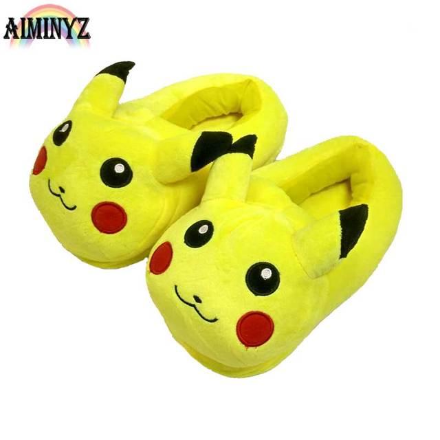 Animal Pikachu Slippers Pokemon WomenCotton Funny Home Shoes Winter Furry  Room Short Plush Female Fur Floor e6db5aa280