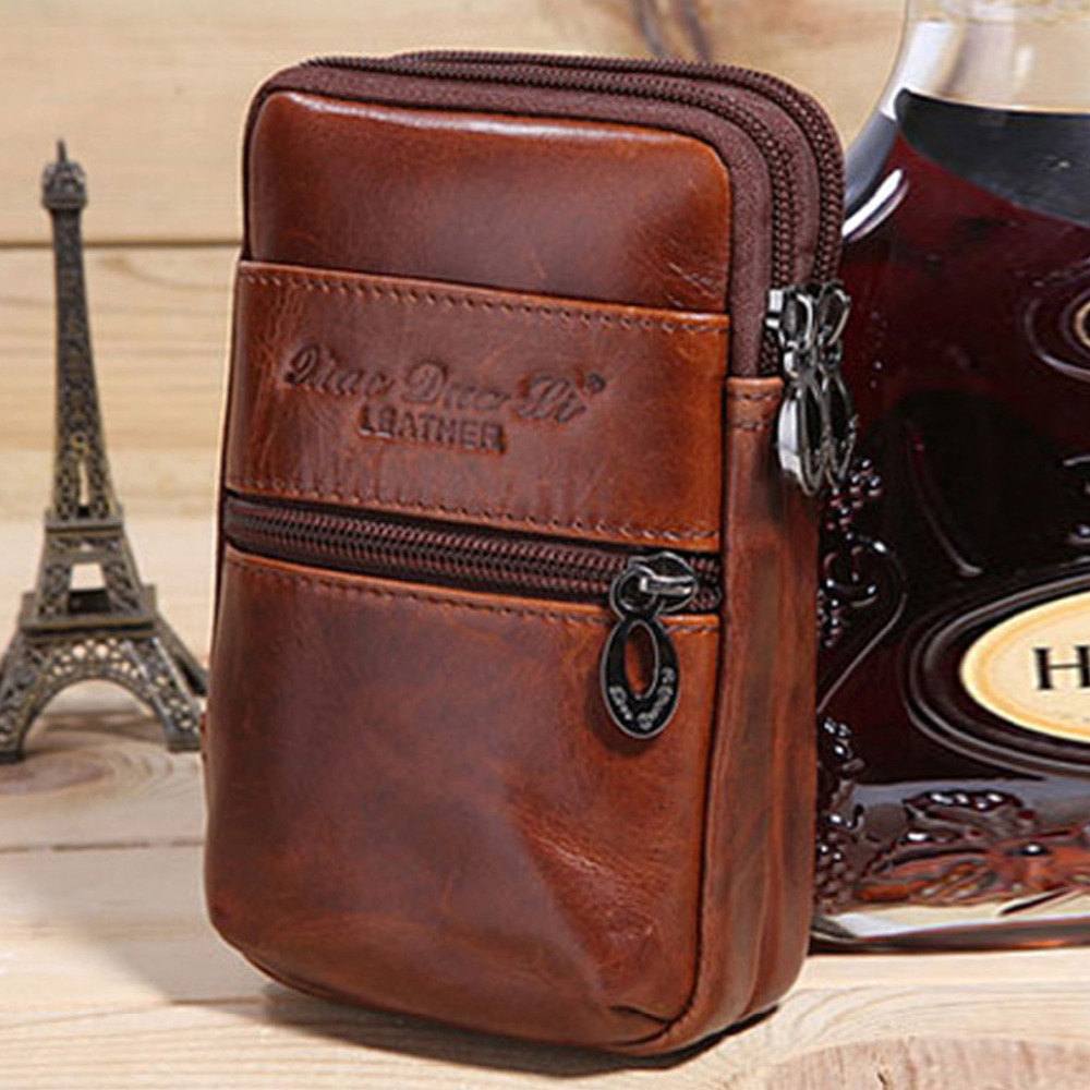 New Men Genuine Leather Cowhide Hook Cell Mobile/Phone Case Cover Cigarette Belt Hip Fanny Bag Waist Pack Purse For Father Gift