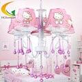 Ghomeart O novo lustre de cristal rosa menina princesa quarto quarto lustre com Segurança calor Levou lustres