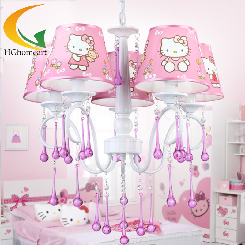 ghomeart the new pink crystal chandelier girl bedroom princess room chandelier with warmth led chandeliers safety