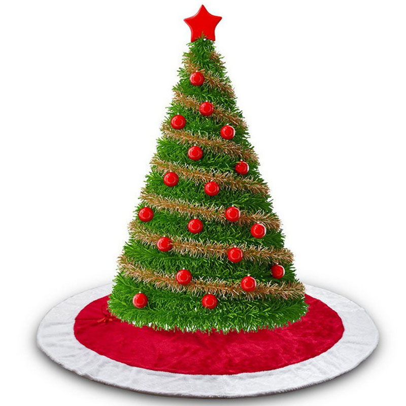 5 Pcs Lot 120cm Red Christmas Tree Skirt Red White Xmas Floor
