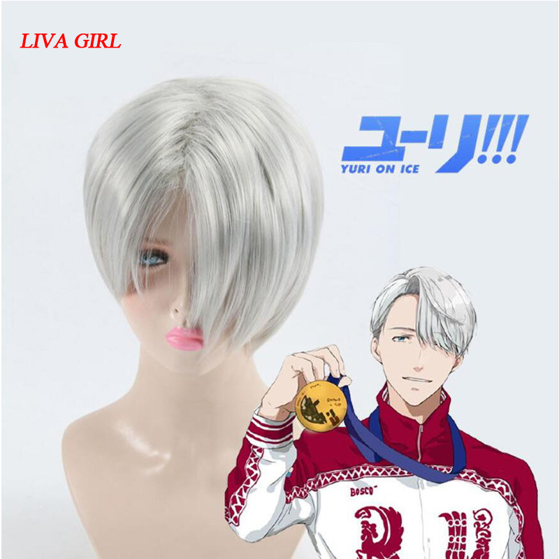 LIVA GIRL High Quality Yuri on Ice Cosplay Wig Victor Nikiforov Costume Play Woman Adult Wigs Halloween Anime Game Hair