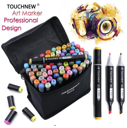TOUCHNEW 168 Colors Artist Double Tips Marker Set Animation Manga Design School Drawing Sketch Marker Pen touchnew 80 colors artist dual headed marker set animation manga design school drawing sketch marker pen black body