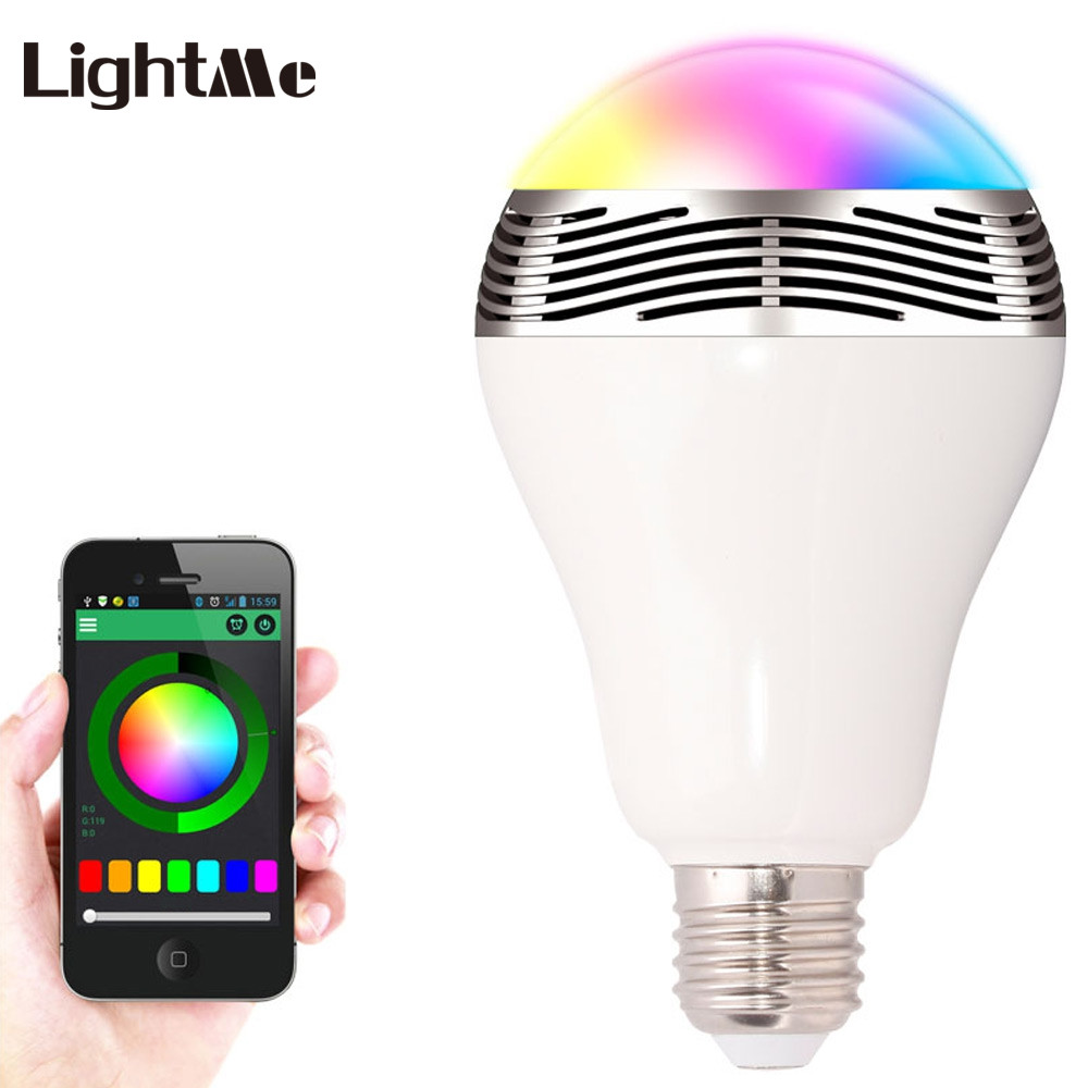 Lightme E27 Bluetooth Smart LED Light Bulb Wireless Speaker 6W Intelligent RGB Remote Control Lamp Colorful Universal Bulb novelty lights 8 colors changeable e27 wireless bluetooth speaker rgb color smart led light bulb with remote control lamp light
