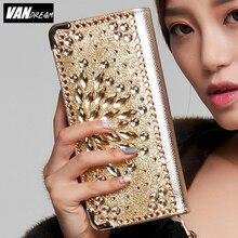 2016 Mode Femmes Portefeuilles bracelet sac à main solide PU En Cuir Diamant Long sac noir or embrayage Lady marque téléphone carte coin bourse