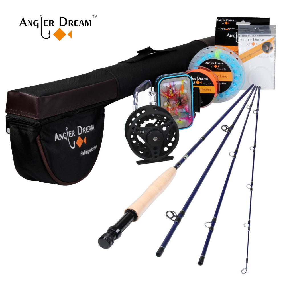 Angler Dream Fly Fishing Rod And Reel Combo Set 5/6 WT Rod Combo With Fly Line Fly Lures Full Kit With Bag(China)