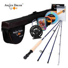 Angler Dream Fly Fishing Rod and Reel Combo Set 5 6 WT Rod Combo with Fly Line Fly Lures Full Kit with Bag cheap Ocean Rock Fshing River stream Reservoir Pond Lake Ocean Boat Fishing 2 7 m Rod+Reel+Line fly rod combo 2 7m (9FT) Fast Action