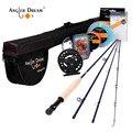 Angler sueño pesca con mosca y carrete Combo Set 5/6 WT Combo con línea de la mosca vuela señuelos Kit completo con bolsa