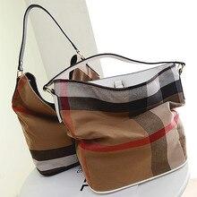 Berühmte Marke Frauen tasche leinwand plaid design frauen handtasche lässig frauen umhängetasche frauen eimer tasche hobo bag