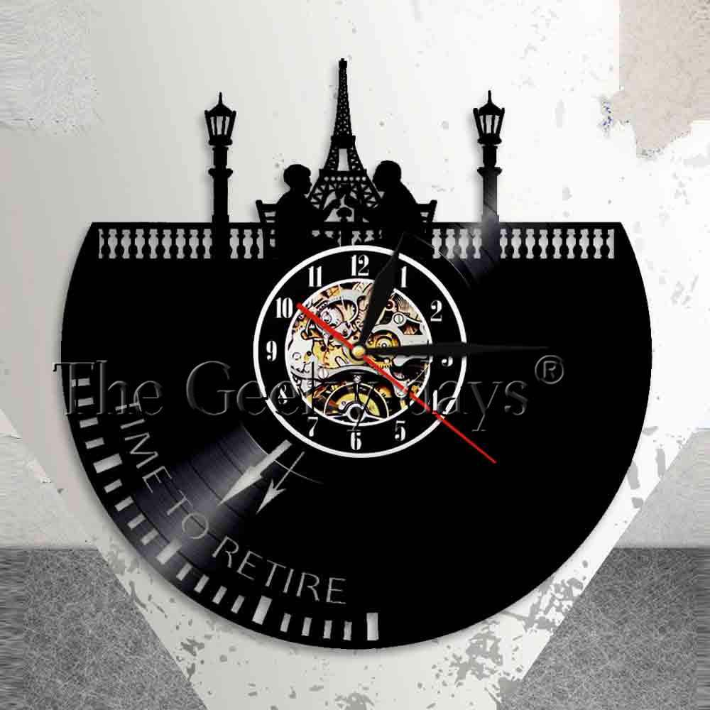 Time To Retire Spiritual Wall Clock Career Retirment Vinyl Record Wall Clock Travelling Retirement Plan Decorative Wall Watch