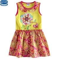 Retail Kids Children Summer Sleeveless Floral Butterfly Girl Dress Nova Kids Wear Party Dress 2016 Baby