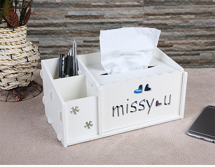 New Creative Pen Remote Control Paper Towels Carved Holder Boxes Organizer Two Pattern Sundries Storage Box Home Gift k425
