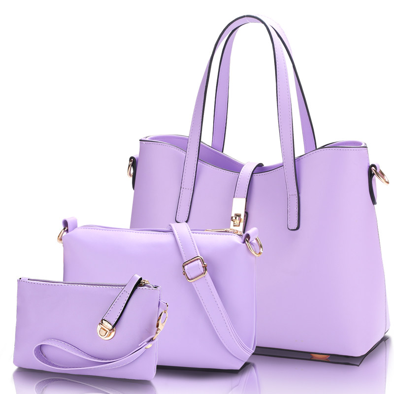 Concise Three Piece Suit Composite Bag Women Trendy Casual Handbag PU  Leather Fashion Lady Elegant Cheap