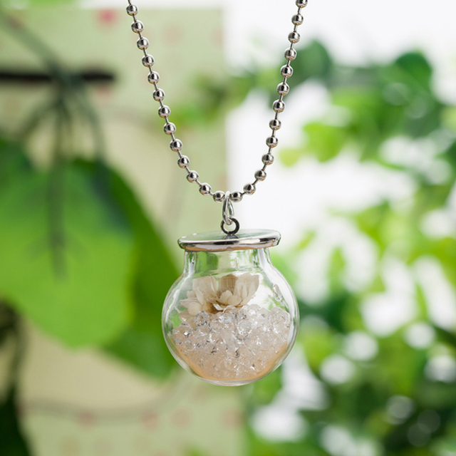 10pcs Lot Glass Terrarium Necklace Dried Flowers Necklace