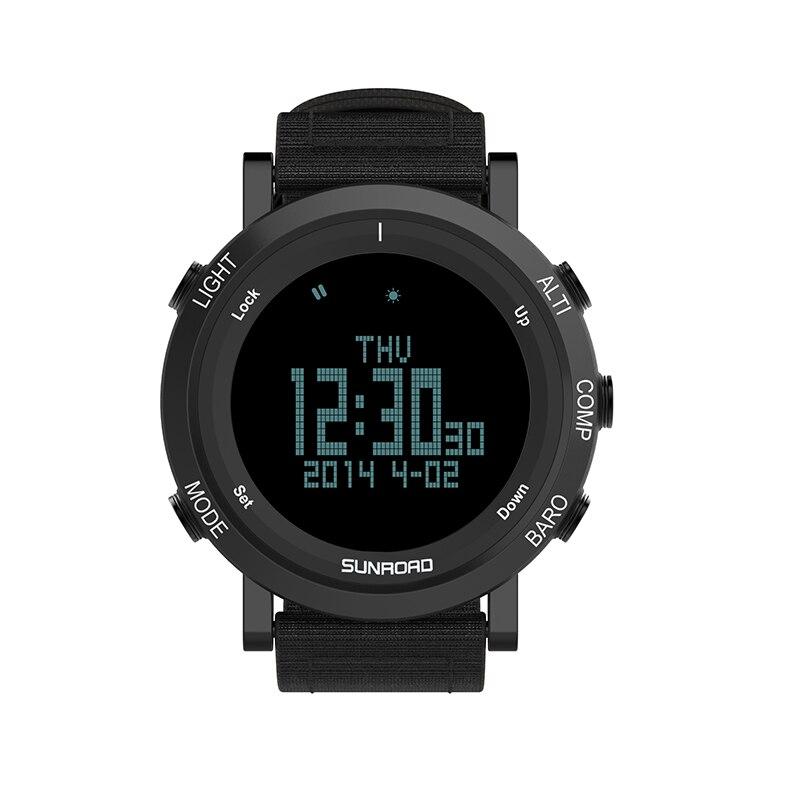 SUNROAD numérique en plein air hommes montre altimètre baromètre boussole podomètre horloge avec bracelet en Nylon Reloj hombre
