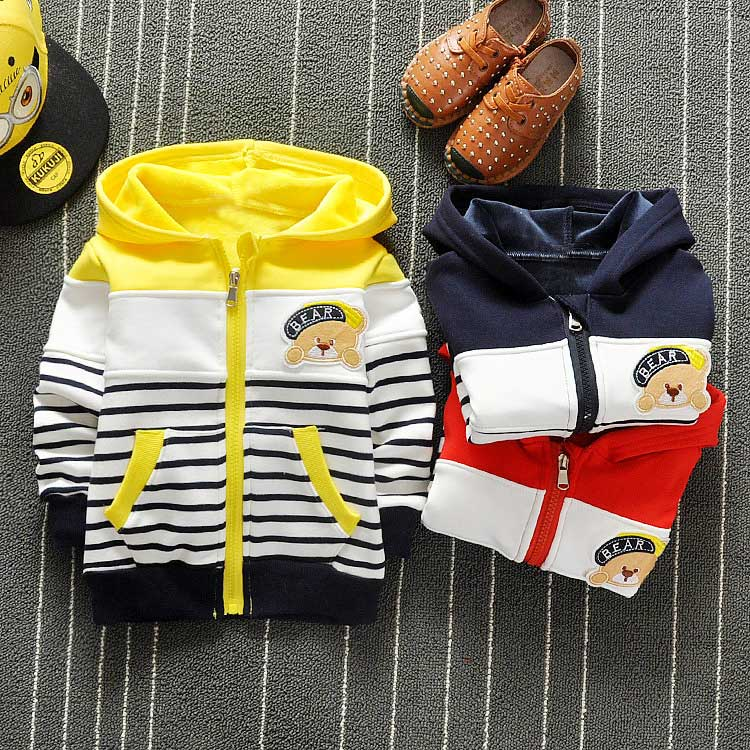 Spring Boys Cartoon Bear Stripped Hooded Cap Jackets Cardigan Baby kids Infant Long Sleeve Children Outwear Coat S2713