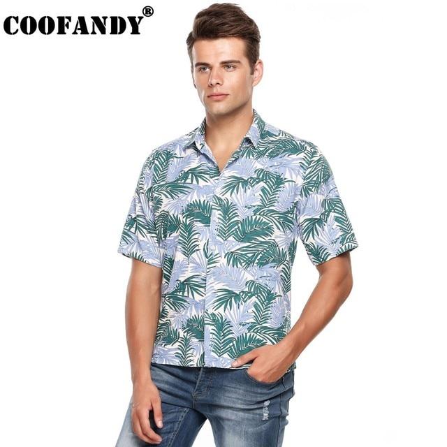 ba222a75d13 COOFANDY Men Shirts Stylish Male Wear Mens Cool Nights Tropical Half Sleeve Button  Down Collar Aloha Hawaiian Print Shirt