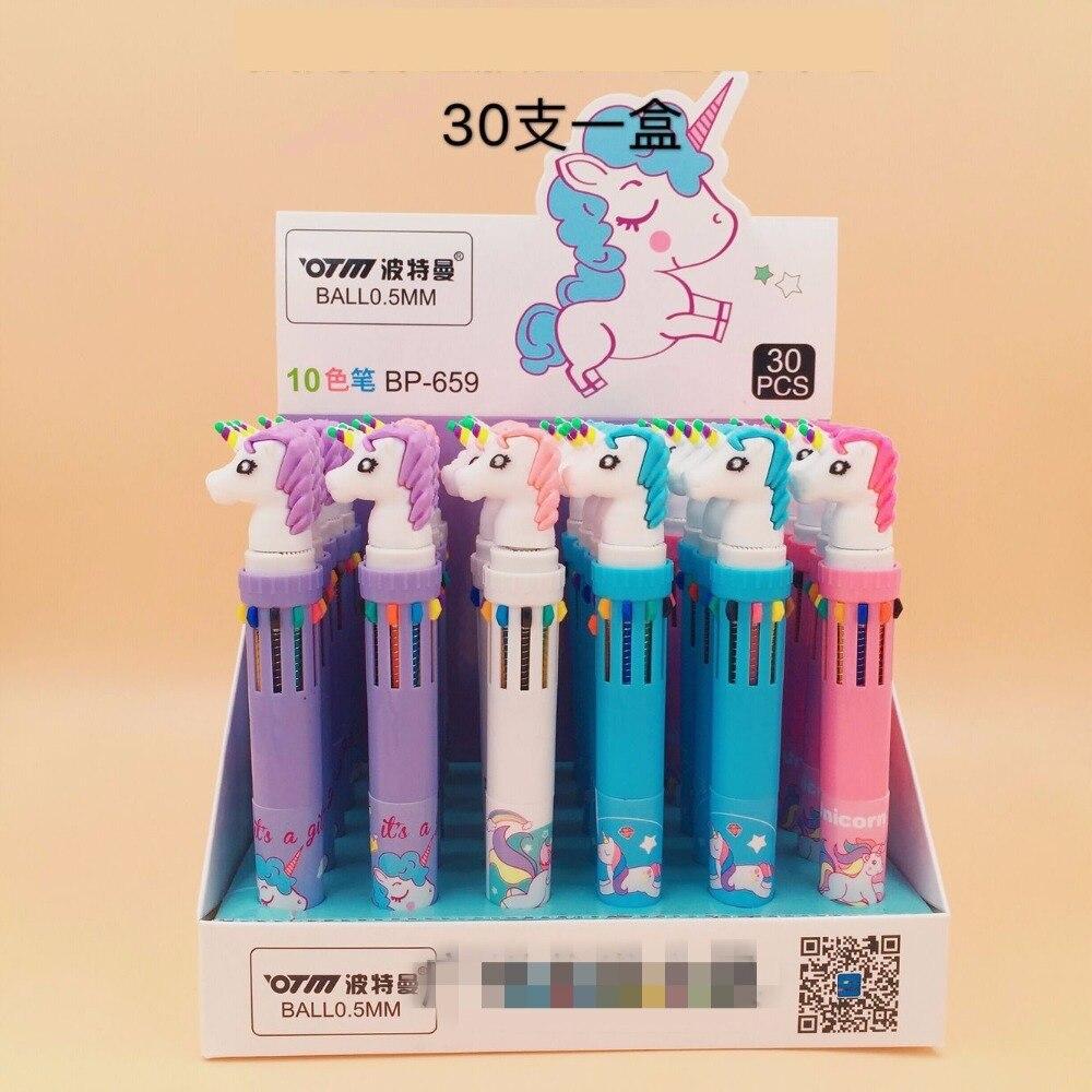 30pcs box creative cartoon horse 10 colors ballpoint pen students children birthday gift prize stationery