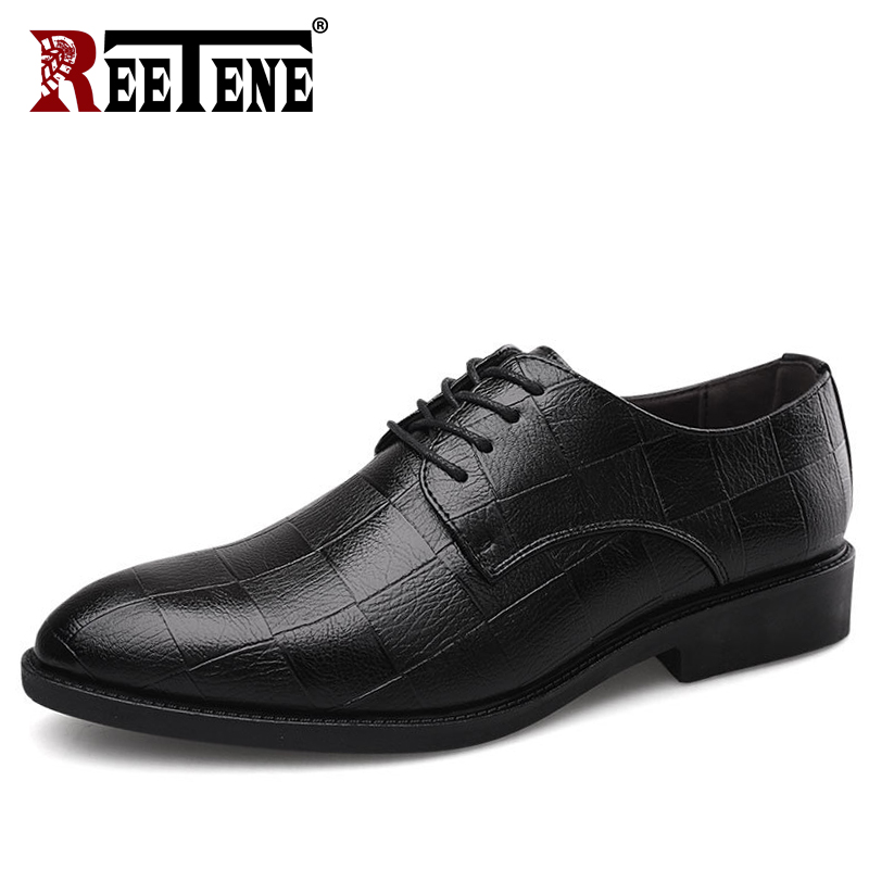 REETENE Fashion Men Dress Shoes High Quality Leather Oxford Shoes For Men Lace Up Business Formal Men Shoes Men Wedding ShoesREETENE Fashion Men Dress Shoes High Quality Leather Oxford Shoes For Men Lace Up Business Formal Men Shoes Men Wedding Shoes