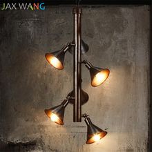 Loft Industrial Decoration Pendant Lights Restaurant Cafe Dining Room Retro Horn Styling iron Vintage Hanging Lamps Fixture ark light free shipping loft american vintage nostalgic industrial retro hanging lights dining room coffee room tea house