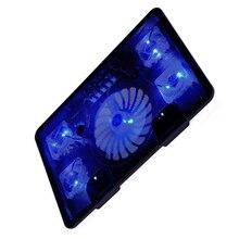 "NA JUแล็ปท็อปCooler Pad 14 ""15.6"" 17 ""5 พัดลม 2 พอร์ตUSBสไลด์ขาตั้งโน้ตบุ๊คพัดลมระบายความร้อนด้วยแสง"