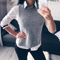 Новый Для женщин зимний свитер жилет Повседневное свободные шерстяной свитер без рукавов жилет о Средства ухода за кожей шеи v Средства ухо...