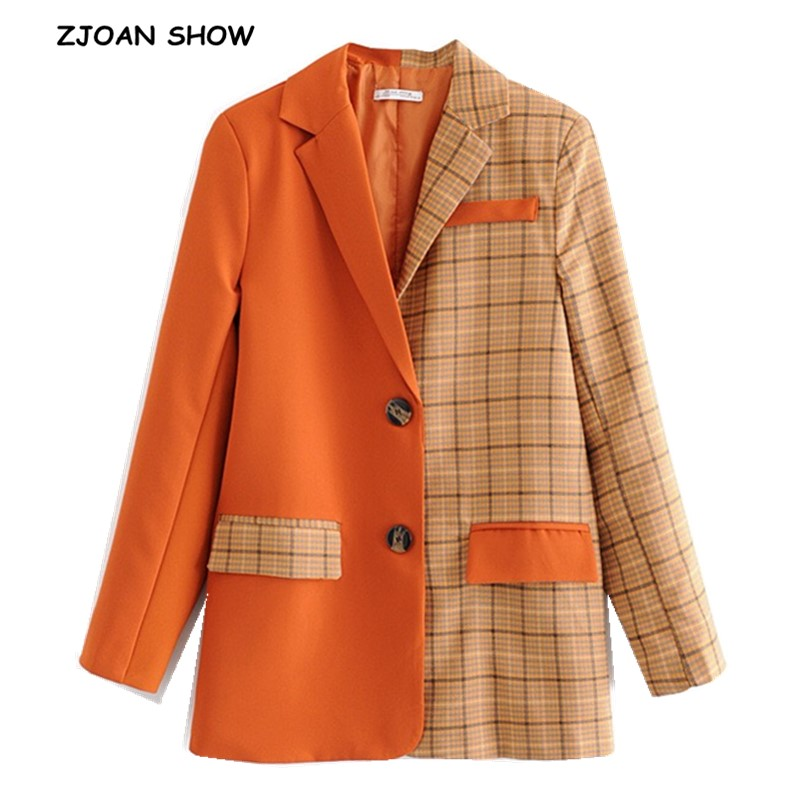 2019 New Spring Orange Stitching Gangham Plaid Blazer Boyfriend Friend Style Women Contrast Color Suit Coat Fashion Femme